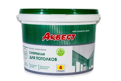 Краска акриловая супербелая для потолков Стандарт Аквест-4 1.4кг